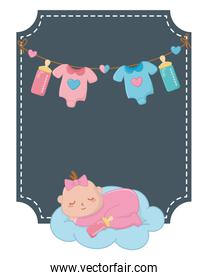 square frame with baby sleeping vector illustration