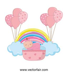 baby sleeping in a cradle vector illustration