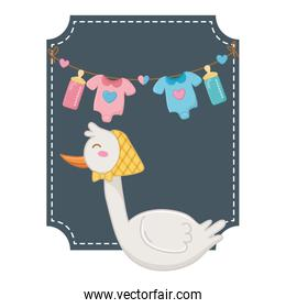 square frame with stork vector illustration