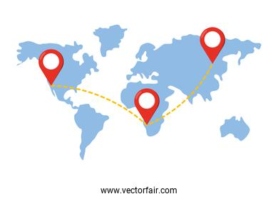 map with location pointers vector illustration