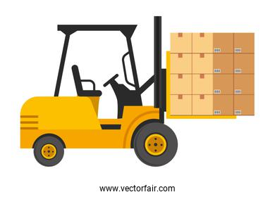 lift truck with boxes vector illustration