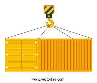 cargo container hanging on a crane hook vector illustration