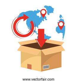 box with map vector illustration
