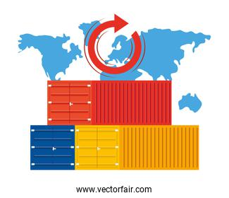 cargo containers and map vector illustration