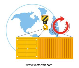 cargo container with crane hook vector illustration