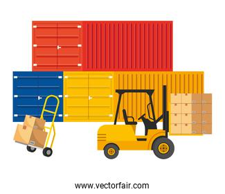 cargo containers with pushcart vector illustration