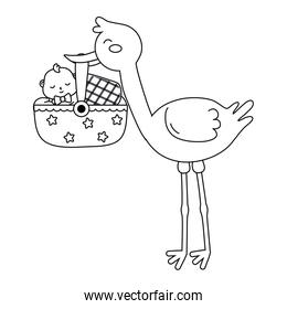 stork with baby in basket in black and white
