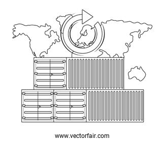 cargo containers and map in black and white