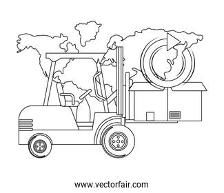lift truck and box in black and white
