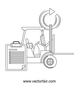 lift truck and checklist in black and white