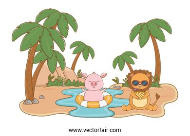 Summer and cute animals cartoons