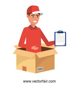 isolated delivery service worker man cartoon