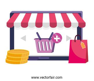 Tablet and store icon design vector illustration