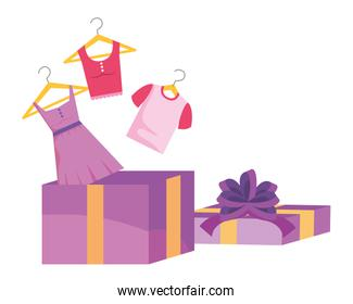 Gift and cloth design vector illustration