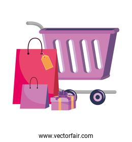 Shopping cart and bags icon design vector illustration