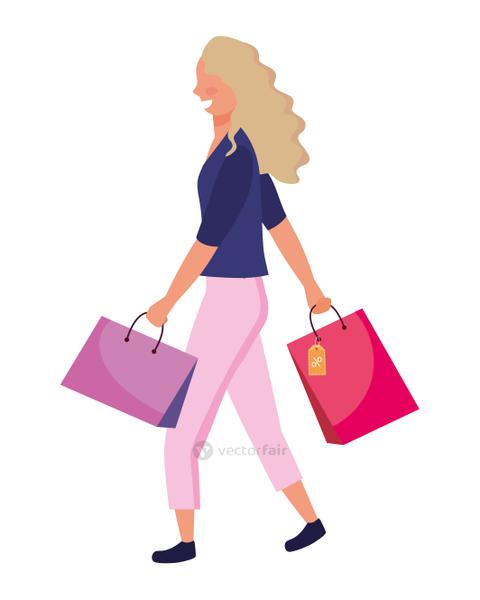 woman with shopping bag icon vector illustration