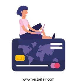 Woman shopping online vector illustration