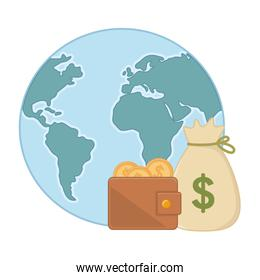 Isolated planet and money design vector illustration