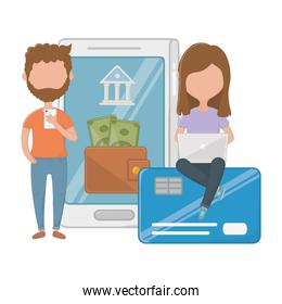 Money and shopping online icon set vector illustration