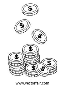 Isolated Coins design vector illustration