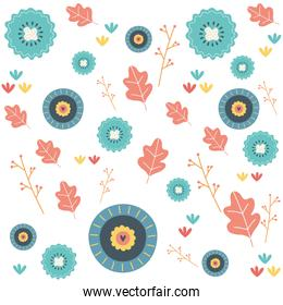 Flowers and leaves background vector illustration vector illustration