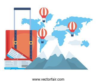Suitcase and travel design vector illustration