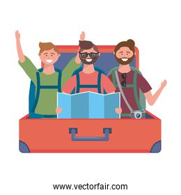 Suitcase and tourists design vector illustration