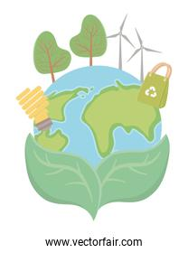 save planet with environment icons set