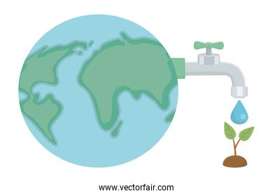 Water tap with drop and planet design