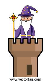 Isolated medieval and fantasy magician design vector illustration