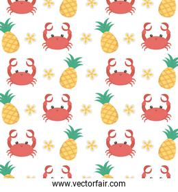 crab cartoon and pineapple background