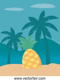 Palm tree and pineapple design