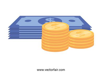 Isolated Coins and bills design vector illustration