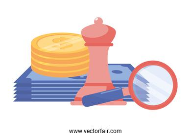 Isolated bills coins chess and lupe design vector illustration
