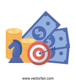Isolated bills coins chess and target design vector illustration