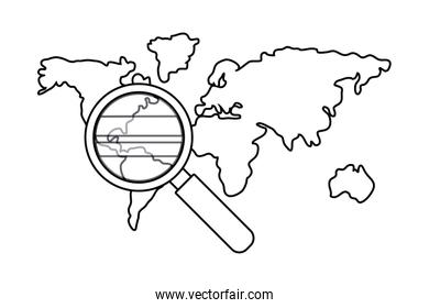Isolated cartography map and lupe design vector illustration