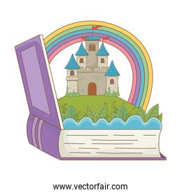 Book and castle of fairytale  vector illustration