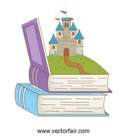 Book and castle of fairytale design vector illustration