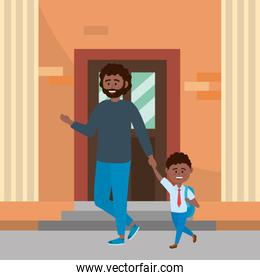 Father and son going to school design