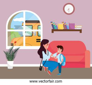 Mother and son going to school design