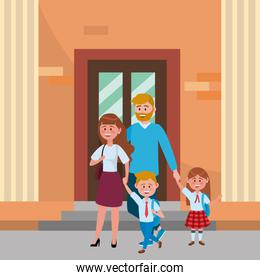 Parents with kids going to school design