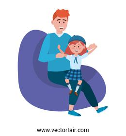 Father and daughter design vector illustration