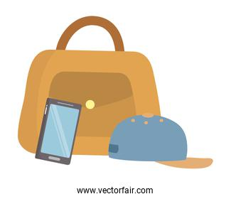 Isolated bag hat and smartphone icon
