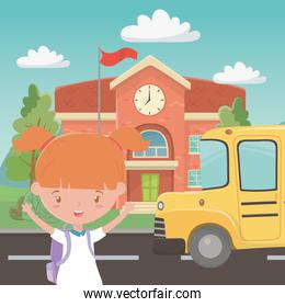 School building bus and girl design