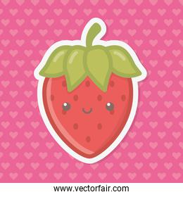Strawberry fruit with leaves cartoon design