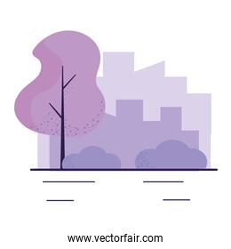 Isolated city and plants design