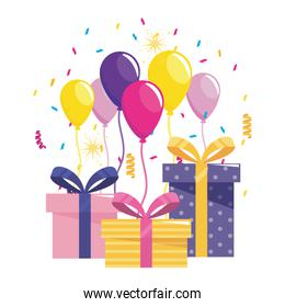 Happy Birthday gifts and balloons design