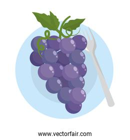 Isolated grapes fruit with leaves design