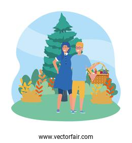 Couple of woman and man having picnic design