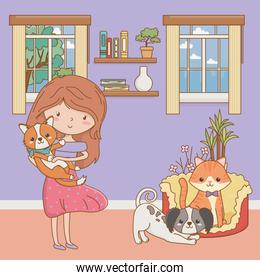 Girl with cat and dogs cartoons design